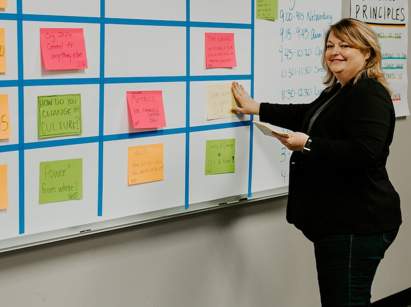 Diana Williams placing sticky note on board